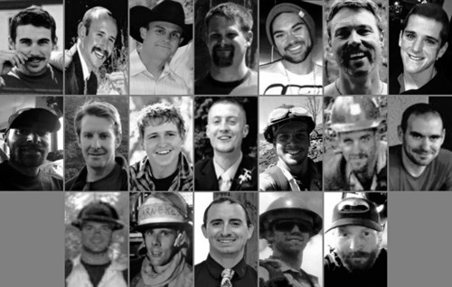 "The Associated Press This photo combination made with undated family photos provided via the City of Prescott, Ariz. shows the 19 firefighters killed battling an out-of-control wildfire in Yarnell, Ariz., on June 30, 2013. Top row, from left: Andrew Sterling Ashcraft, Robert Caldwell, Travis Carter, Dustin James DeFord, Chris Mackenzie, Eric Shane Marsh, and Grant Quinn McKee. Second row, from left: Sean Misner, Scott Daniel Norris, Wade Scott Parker, John Joseph Percin Jr., Anthony Michael Rose, Jesse James Steed, and Joe Thurston. Bottom row, from left: Travis Turbyfill, William Howard ""Billy"" Warneke, Clayton Thomas Whitted, Kevin Woyjeck, and Garret Zuppiger. (AP Photo/Family Photos via City of Prescott"