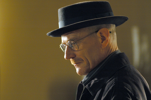 """This image released by AMC shows Walter White, played by Bryan Cranston, wearing a Bollman 1940's pork pie hat in a scene from the second season of """"Breaking Bad.""""  The series finale of the popular drama series aired on Sunday, Sept. 29. (AP Photo/AMC, Ursula Coyote)"""
