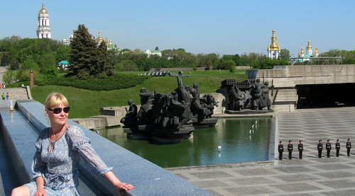 Courtesy photo | Nathan Adams   Elena Adamchiyk outside the Great Patriot Museum in Kiev, Ukraine,  May 2013. She met Nathan Adams of Syracuse, Utah, online. She has since arrived in Utah and they plan to marry.