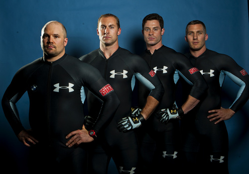 Chris Detrick  |  The Salt Lake Tribune USA bobsled team Steve Holcomb, Curt Tomasevicz, Steve Langton and Chris Fogt pose for a portrait during the Team USA Media Summit at the Canyons Grand Summit Hotel Monday September 30, 2013.