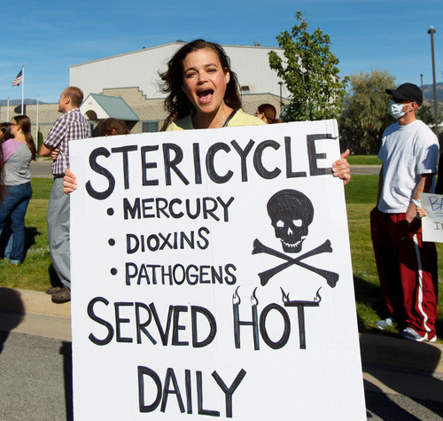 Trent Nelson  |  The Salt Lake Tribune Pamela Beheshti at a protest of the controversial medical-waste incinerator Stericycle, in North Salt Lake, Saturday, September 28, 2013.