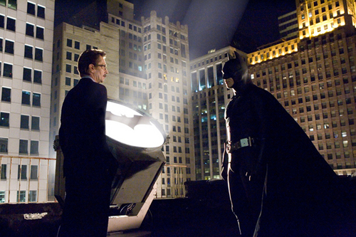 "GARY OLDMAN as Det. Sgt. Jim Gordon and CHRISTIAN BALE starring as Batman in Warner Bros. Pictures' action adventure ""Batman Begins.""  Courtesy Warner Brothers"