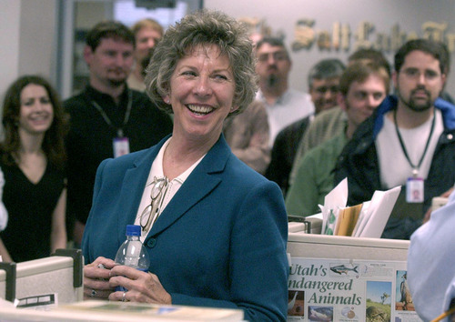 Leah Hogsten     The Salt Lake Tribune  Nancy Conway meets with Tribune staff on May 5, 2003, after being named the successor to former editor James Shelledy.