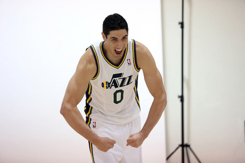 Francisco Kjolseth  |  The Salt Lake Tribune Enes Kanter of the Utah Jazz tries to get into the spirit of an action portrait during Media Day at the Zions Bank Basketball Center in Salt Lake on Monday, Sept. 30, 2013, as the team gets their official team pictures taken and are interviewed by the media.