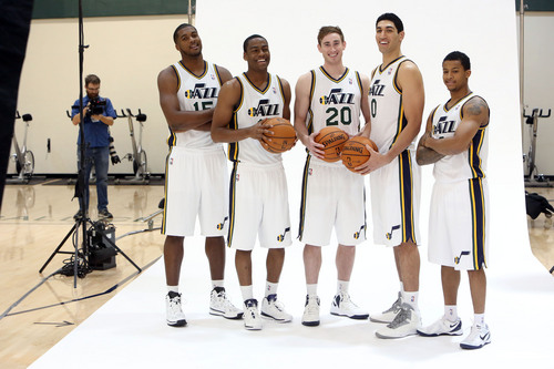 Francisco Kjolseth  |  The Salt Lake Tribune Jazz players, Derrick Favors, Alec Burks, Gordon Hayward, Enes Kanter and Trey Burke, from left, crack up as they attend Media Day at the Zions Bank Basketball Center in Salt Lake on Monday, Sept. 30, 2013, for their official team pictures and to be interviewed by the media.