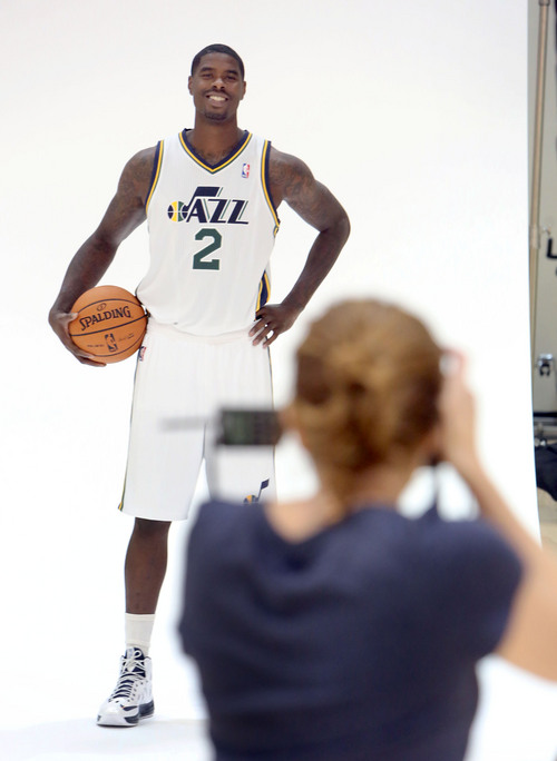 Francisco Kjolseth  |  The Salt Lake Tribune Marvin Williams of the Utah Jazz attends Media Day at the Zions Bank Basketball Center in Salt Lake on Monday, Sept. 30, 2013, as the team gets their official team pictures taken and are interviewed by the media.