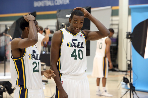 Francisco Kjolseth  |  The Salt Lake Tribune Ian Clark, left, and Jeremy Evans of the Utah Jazz compare cuts as they attend Media Day at the Zions Bank Basketball Center in Salt Lake on Monday, Sept. 30, 2013, as the team gets their official team pictures taken and are interviewed by the media.