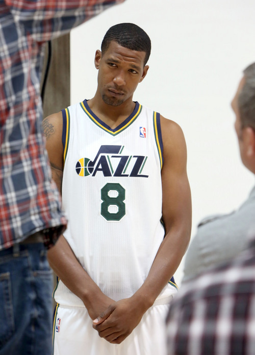 Francisco Kjolseth  |  The Salt Lake Tribune Dominic McGuire strikes a serious look as the Utah Jazz attend Media Day at the Zions Bank Basketball Center in Salt Lake on Monday, Sept. 30, 2013, as the team gets their official team pictures taken and are interviewed by the media.