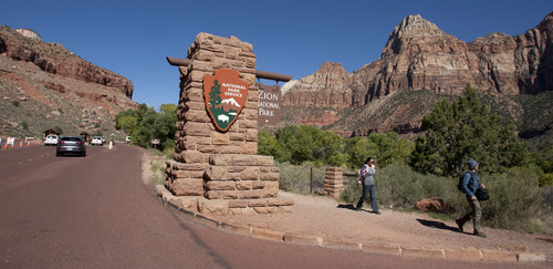 Steve Griffin  |  The Salt Lake Tribune  The entrance to Zion National Park near Sprindale, Utah Monday, September 30, 2013. A looming federal government shutdown could close all National Parks.