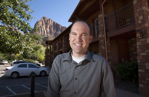 Steve Griffin  |  The Salt Lake Tribune  With Watchtower in the background, Nathan Wells,  general manager of Zion Canyon Village, stands outside the Cable Mountain Lodge just outside the Zion National Park entrance in Springdale, Utah Monday, September 30, 2013. Wells talked about what a looming federal government shutdown could mean to his business.
