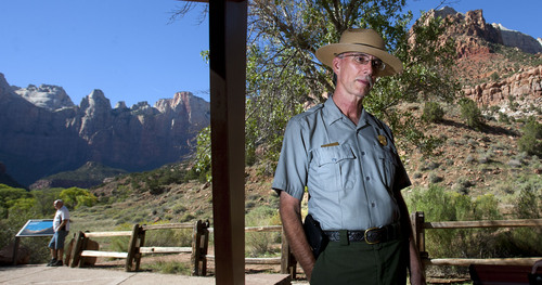 Steve Griffin  |  The Salt Lake Tribune  Zion National Park Superintendent, Jock Whitworth, outlines steps Zion National Park will take if a looming federal government shutdown closes the park. He spoke outside his office in the park Monday, September 30, 2013.