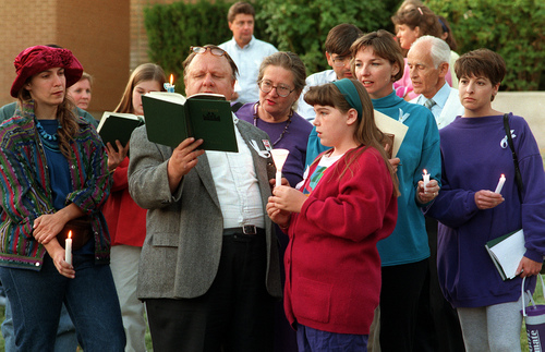 Al Hartmann  |  The Salt Lake Tribune  Supporters of Lynne Whitesides hold a vigil outside her LDS Church disciplinary hearing in 1993.
