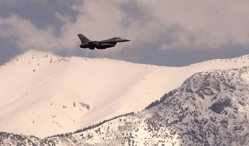HAFB - An F-16 takes off from Hill Air Force Base Friday afternoon. The base will not be one of the military bases closed. Ryan Galbraith/photograph  05.13.05