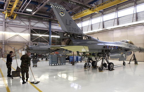 Tribune file photo The 649 Combat Lagistics Support Squadron keeps the F-16 repair hangar clean at Hill Air Force Base.