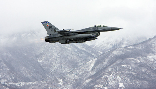 Francisco Kjolseth     The Salt Lake Tribune An F-16 fighter pilot takes off from Hill Air Force Base on a training run on  Saturday, November 5, 2011.