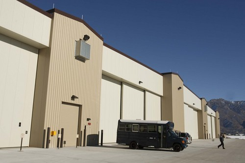 Leah Hogsten   The Salt Lake Tribune   The F-22 Heavy Maintenance Facility, Thursday, January 12, 2012. Hill Air Force Base celebrates the completion of a 96,000 square-foot addition will house an F-22 heavy maintenance facility and composite back shop, as well as seven aircraft maintenance docks. The complex will maintain, repair, and modify F-22 fighter aircraft.