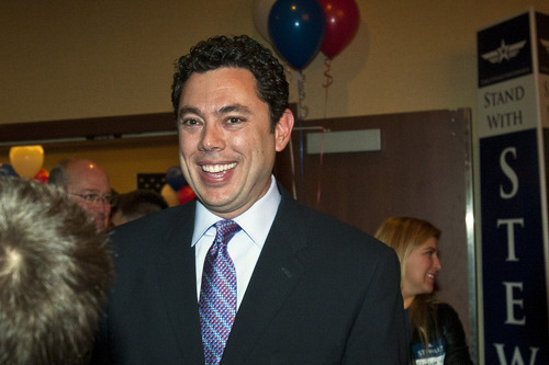 Chris Detrick  |  Tribune file photo Rep. Jason Chaffetz  talks with supporters during the Republican Election Night Party in November 2012. He is having his paycheck held until the government shutdown is over.