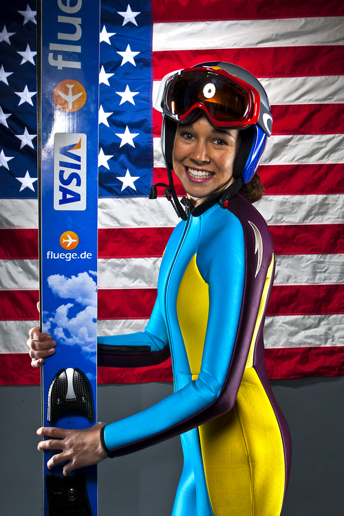 Chris Detrick  |  The Salt Lake Tribune Ski jumping athlete Sarah Hendrickson poses for a portrait during the Team USA Media Summit at the Canyons Grand Summit Hotel Tuesday October 1, 2013.