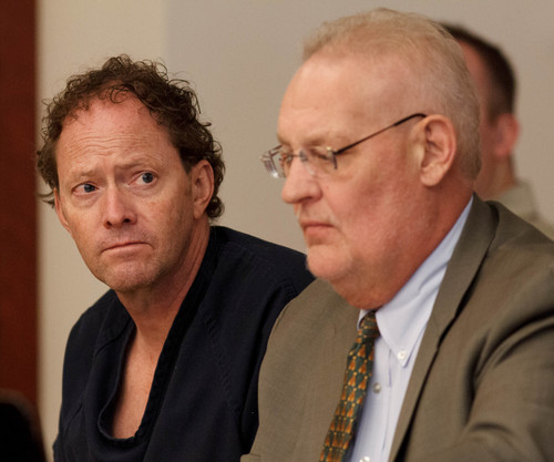 Trent Nelson  |  The Salt Lake Tribune John Brickman Wall at his preliminary hearing in Salt Lake City on Tuesday. Wall is a pediatrician charged in 3rd District Court with first-degree felony counts of murder and aggravated burglary in connection with the October 2011 death of his ex-wife, Uta von Schwedler. Defense attorney Howard Lundgren at right.