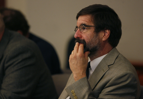 Scott Sommerdorf   |  The Salt Lake Tribune Defense attorney Fred Metos listens to testimony during the three-day preliminary hearing for John Brickman Wall, a Salt Lake City pediatrician charged in 3rd District Court with first-degree felony counts of murder and aggravated burglary in connection with the October 2011 death of his ex-wife, Uta von Schwedler, Wednesday, October 2, 2013.