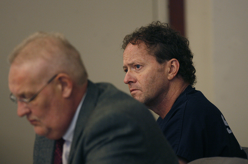 Scott Sommerdorf   |  The Salt Lake Tribune John Brickman Wall listens to testimony during his three-day preliminary hearing. The Salt Lake City pediatrician is charged in 3rd District Court with first-degree felony counts of murder and aggravated burglary in connection with the October 2011 death of his ex-wife, Uta von Schwedler,   Wednesday, October 2, 2013.
