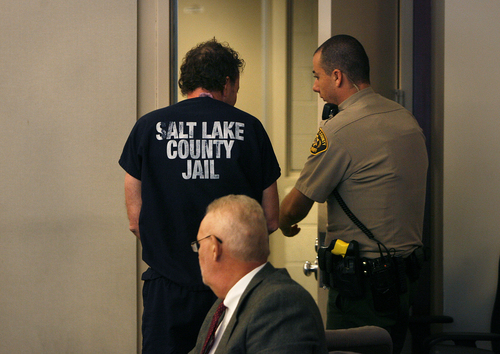 Scott Sommerdorf   |  The Salt Lake Tribune John Brickman Wall lis led away at a recess during his three-day preliminary hearing. The Salt Lake City pediatrician is charged in 3rd District Court with first-degree felony counts of murder and aggravated burglary in connection with the October 2011 death of his ex-wife, Uta von Schwedler, Wednesday, October 2, 2013.