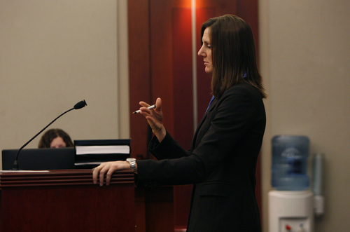 Scott Sommerdorf   |  The Salt Lake Tribune Prosecutor Anna Rossi asks questions during the three-day preliminary hearing for John Brickman Wall, a Salt Lake City pediatrician charged in 3rd District Court with first-degree felony counts of murder and aggravated burglary in connection with the October 2011 death of his ex-wife, Uta von Schwedler, Wednesday, October 2, 2013.