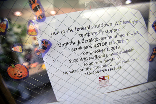 Francisco Kjolseth  |  The Salt Lake Tribune With the federal shutdown taking effect, the repercussions are being manifest from the bottom up as women who rely on the federally funded WIC (Women, Infants and Children) are unable to get baby formula. At WIC at the Salt Lake Health Department services have stopped as indicated on the door.