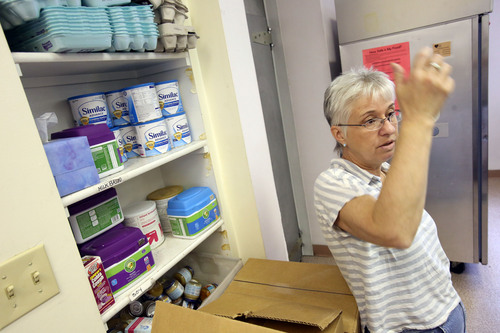 Francisco Kjolseth  |  The Salt Lake Tribune Emergency Service Director for the Crossroads Urban Center expresses her frustration with the federal government as she predicts a run on baby formula. With the shu down taking effect, the repercussions are being manifest from the bottom up as women who rely on the federally funded WIC (Women, Infants and Children) are unable to get baby formula and are being directed to places like the Urban Center and the few food pantries that actually carry the expensive baby formula.