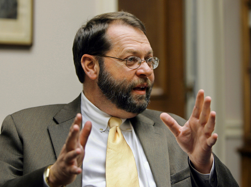 FILE - In this Nov. 17, 2004 file photo, then Ohio-Rep. Steven LaTourette speaks in his on Capitol Hill in Washington. The government shutdown could last for many days or even weeks, congressional insiders say, because politically safe members in both parties feel little pressure to compromise. Recent political trends -- including heavily gerrymandered districts that make many House Democrats and Republicans virtual shoo-ins for re-election -- insulate lawmakers from events and emotions beyond their home regions. Gerrymandering has existed for decades. But election results and lawmakers' voting patterns show that the House is more sharply divided along party lines than at almost any point in modern times.  (AP Photo/Manuel Balce Ceneta, File)
