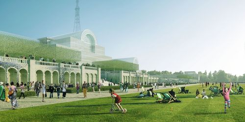 In this computer generated image provided  by In-Press Photography, showing Shanghai-based Zhongrong Group's proposed design on rebuilding Crystal Palace on the site of the original Victorian building in south-east London. Britain's Crystal Palace, the Victorian exhibition center that was once the largest glass structure in the world, will be brought back to life with investment from Chinese developers. Shanghai-based Zhongrong Group plans to invest 500 million pounds (US$ ) to build a replica of the iron and glass building as a cultural attraction in south London. The Crystal Palace, designed by Joseph Paxton for the 1851 Great Exhibition in Hyde Park, was the world's biggest glass structure before it was destroyed by fire in 1936. The plans, announced Thursday, Oct. 3, 2013 will replicate the building's Victorian design in the original size and scale. (AP Photo/In-Press Photography)