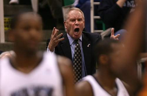Steve Griffin  |  The Salt Lake Tribune  Utah Jazz general manager Kevin O'Connor screams his frustration as the Phoenix Suns pull ahead at EnergySolutions Arena on April 14, 2010.