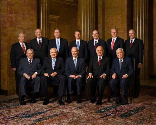 Courtesy LDS Church Here is the current Quorum of the Twelve, headed by senior apostle Boyd K. Packer, seated at far left. Together, these men make up the second-highest governing body of the LDS Church.