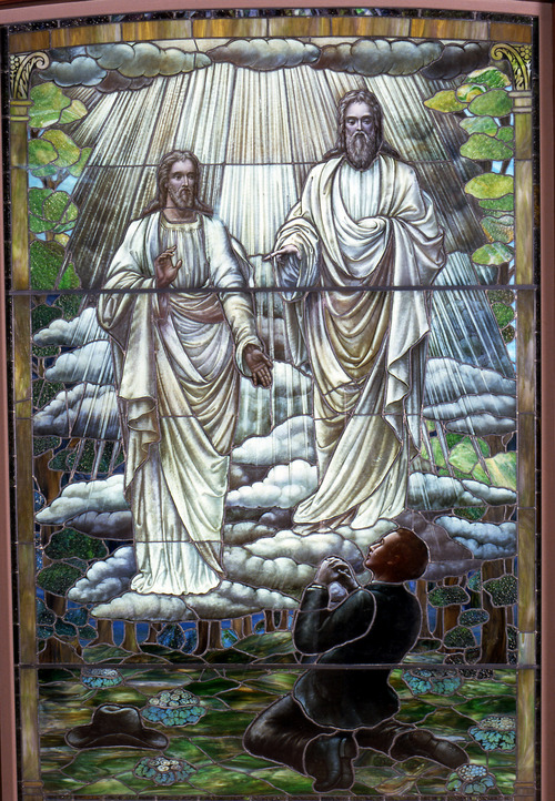 "Mormons.jpg: In Joseph Smith Jr.'s first vision, God the Father and Jesus Christ told him to re-establish Christ's church on Earth. The vision dates to 1820; this stained glass depiction was completed in 1913 by an unknown artist. With unprecedented access to church archives and with the cooperation of church leadership, renowned filmmaker Helen Whitney (""Faith and Doubt at Ground Zero"" and ""The Millennial Pope"") paints a complex portrait of Mormonism, a portrait that neither vilifies the church nor extols it."