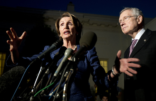 House Minority Leader Rep. Nancy Pelosi, D-Calif., left, with Senate Majority Leader Sen. Harry Reid, D-Nev., speaks to reporters following a meeting with President Barack Obama and the Republican leadership at the White House in Washington, Wednesday, Oct. 2, 2013. Obama and congressional leaders met at the White House on the second day of a partial government shutdown.  (AP Photo/Manuel Balce Ceneta)