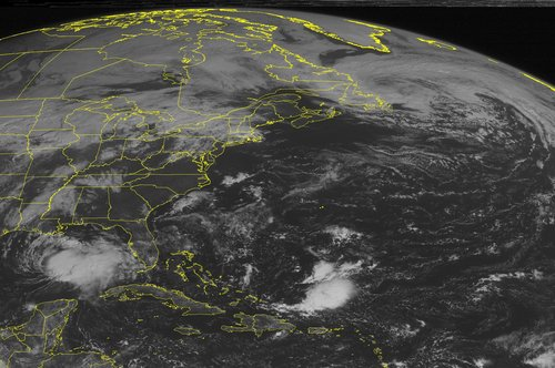 This NOAA satellite image taken Friday, Oct. 4, 2013 at 10:45 a.m. EDT shows Tropical Storm Karen, located in the central Gulf of Mexico, moving northbound with heavy rain and gusty winds displaced east of the center. Clouds are present across New England and the Northern Appalachians into the Great Lakes and portions of the Ohio and Tennessee Valleys and Lower Mississippi Valley with some rain and thunderstorms. (AP Photo/Weather Underground)