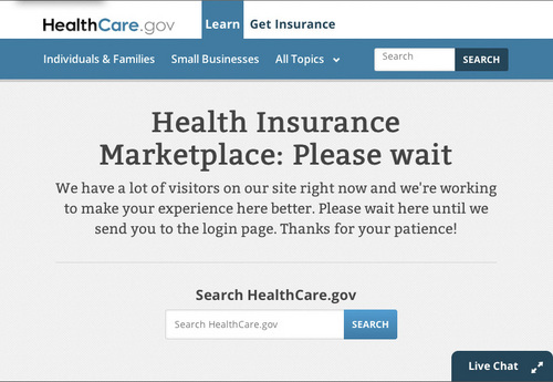 Millions of uninsured Americans eager to shop the Affordable Care Act's health insurance exchange met with error messages on opening day Tuesday.