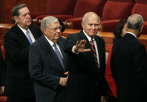 Scott Sommerdorf  |  Salt Lake Tribune GENERAL CONFERENCE Elder Jeffrey R. Holland, Elder M. Russell Ballard, and Elder Dallin H. Oaks (from left to right), leave the morning session of the 180th annual LDS General Conference, Sunday 4/4/10.