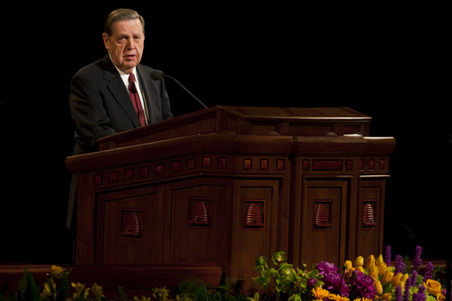 Jeffrey R. Holland, Quorum of the Twelve Apostles, speaks during the afternoon session of the 180th Semiannual General Conference of The Church of Jesus Christ of Latter-day Saints Saturday, April 3, 2010.