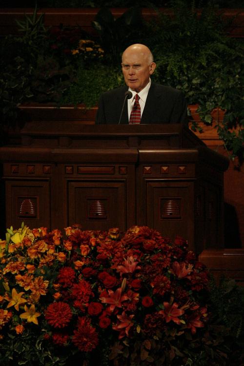 Elder Dallin H. Oaks speaks during the LDS General Conference Saturday October 3, 2008.    Chris Detrick/The Salt Lake Tribune