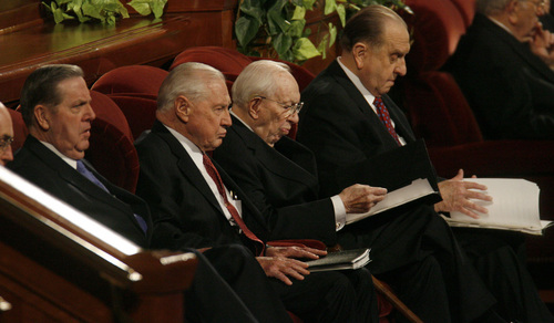 LDS Conference Saturday morning session.  L to R are:  Jeffrey Holland,  member of the Council of the Twelve  Apostles,   Second Counselor Howard Hunter, President Gordon Hinckley, and First Counselor Thomas Monson.     Al Hartmann/Salt Lake Tribune   3/31/07