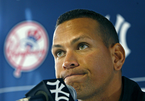 FILE - In this Feb. 25, 2010 file photo, New York Yankees' Alex Rodriguez speaks at a news conference during baseball spring training at Steinbrenner Field in Tampa, Fla. Rodriguez gets to start arguing his case Monday, Sept. 30, 2013. In a hearing room before arbitrator Fredric Horowitz, lawyers for  Rodriguez will argue why the 211-game suspension imposed by Major League Baseball on Aug. 5 should be overturned. (AP Photo/Kathy Willens, File)