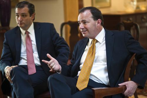 Chris Detrick  |  The Salt Lake Tribune Senator Ted Cruz, R-Texas, and Senator Mike Lee, R-Utah, speak during an interview in the home of Steve Harmsen Friday September 13, 2013.