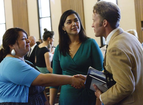 Leah Hogsten | The Salt Lake Tribune Members of the the Parley's Seventh Ward mingle as they file out of church after sacrament meeting, Sunday, Sept. 22, 2013. The ward is for LDS singles only, ages 31-45, and has some 429 women and 264 men.