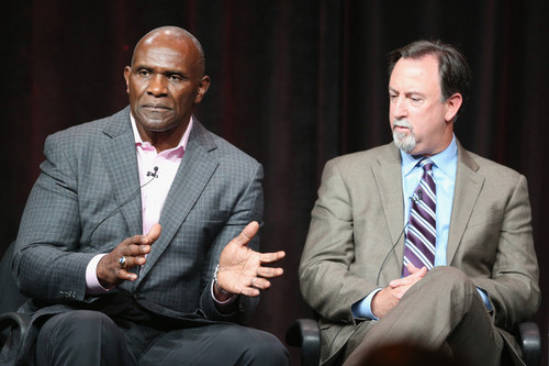 Former NFL linebacker Harry Carson and ESPN reporter Mark Fainaru-Wada Courtesy photo