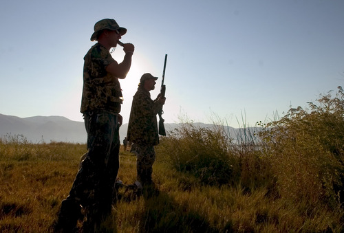 """Al Hartmann     Tribune file photo Nate Shipley, left, """"calls"""" in ducks for his father Kirk Shipley during as the sun peeks over the Wasatch Mountains to start the duck hunting season at Farmington Bay."""