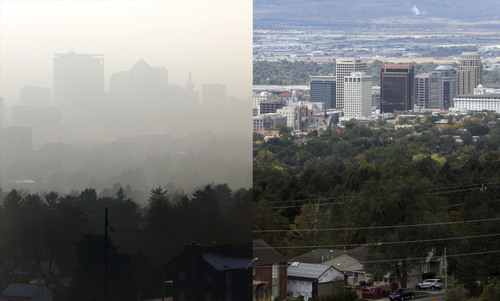 Rick Egan  |  The Salt Lake Tribune This composite image shows the Salt Lake City skyline in a 2011 inversion (left) and in clear air conditions (right) Friday, Oct. 4, 2013.