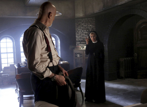 """Courtesy photo James Cromwell as Dr. Arthur Arden, Jessica Lange as Sister Jude in """"American Horror Story: Asylum."""""""