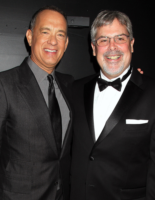 """Tom Hanks, left, and Capt. Richard Phillips attends the world premiere of """"Captain Phillips"""" during the opening night of the 51st New York Film Festival on Friday, Sept. 27, 2013, in New York. (AP Photo/StarPix, Dave Allocca)"""