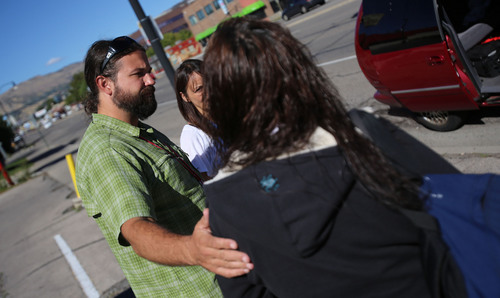 Francisco Kjolseth     The Salt Lake Tribune Joel Hunt a physicians assistant at the 4th Street Clinic that treats homeless people catches up with a sex worker along State street as he asseses her needs. Hunt does outreach and talks to people with substance abuse problems and other medical issues who often use street drugs to battle depression and/or physical pain.